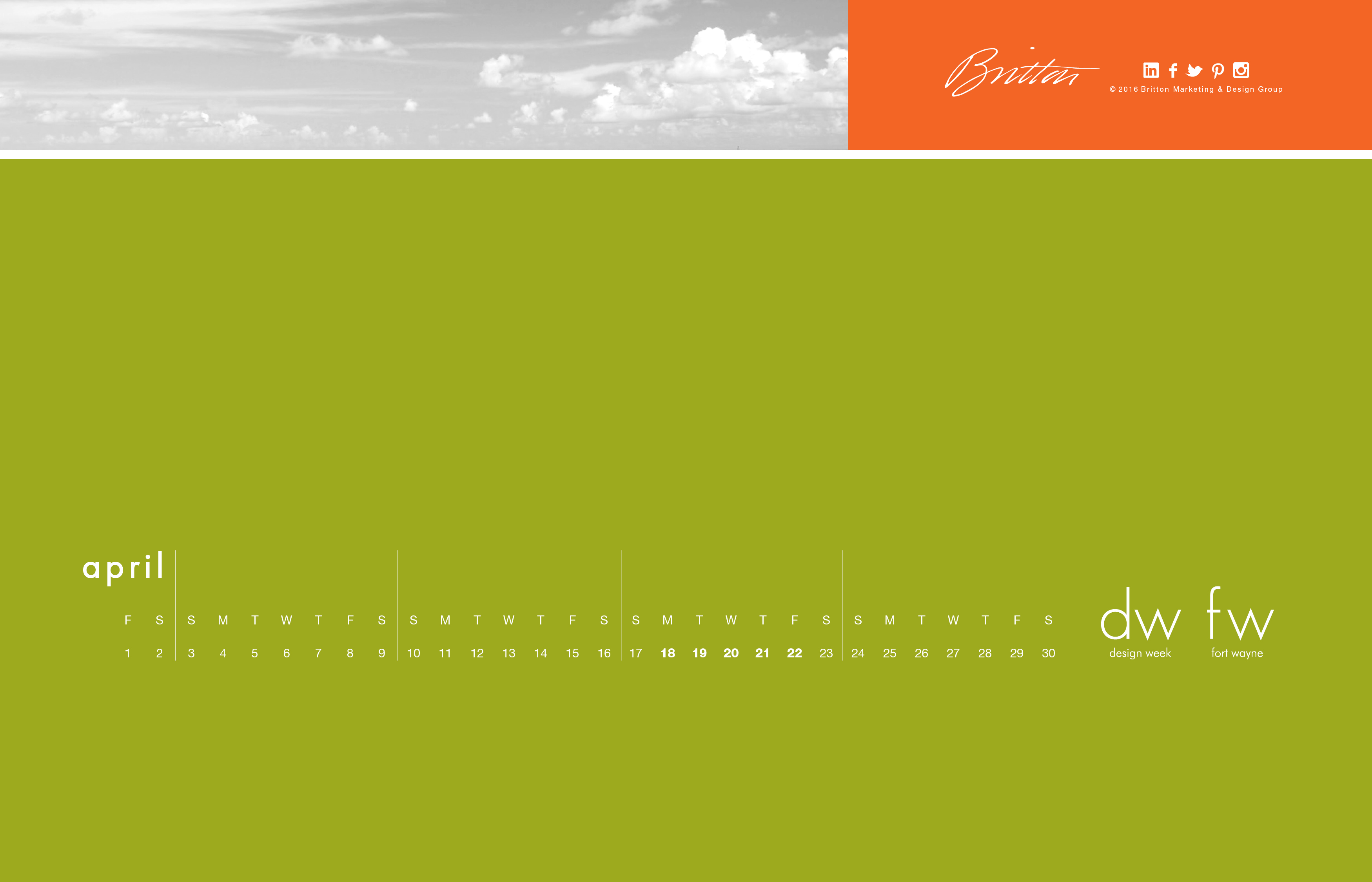 April Calendar Design Week - Standard version