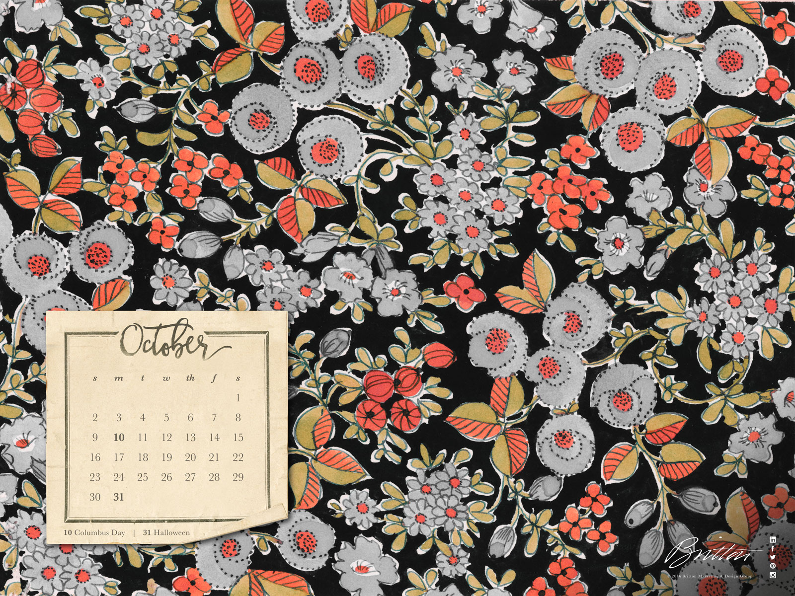 October floral desktop calendar - widescreen