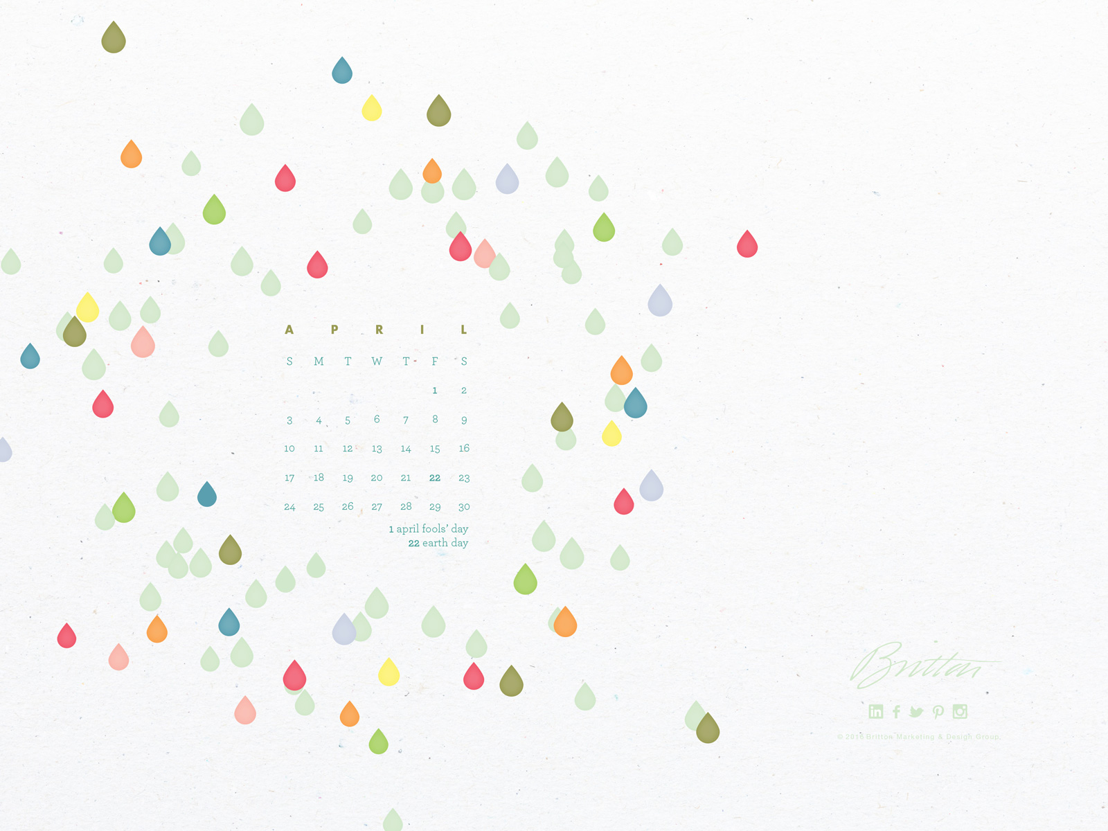 Standard size desktop calendar - April