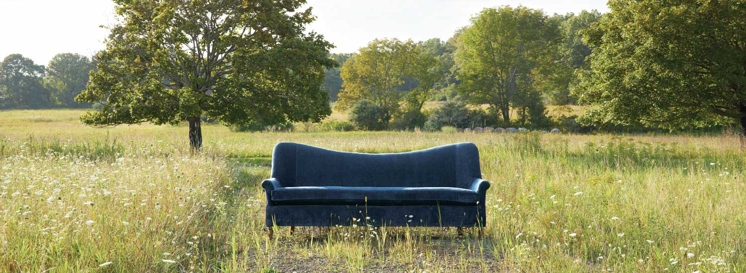 Arhaus Blue Couch in Field