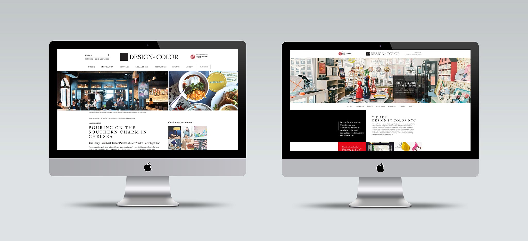 Design in Color NYC and LA Websites on Desktop