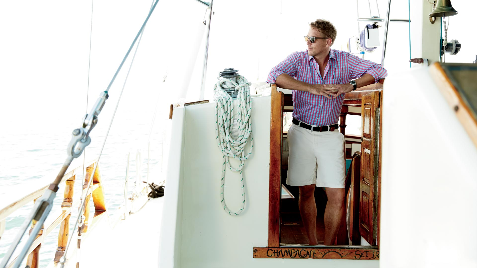 Peter Millar Image of Model on Boat Outside