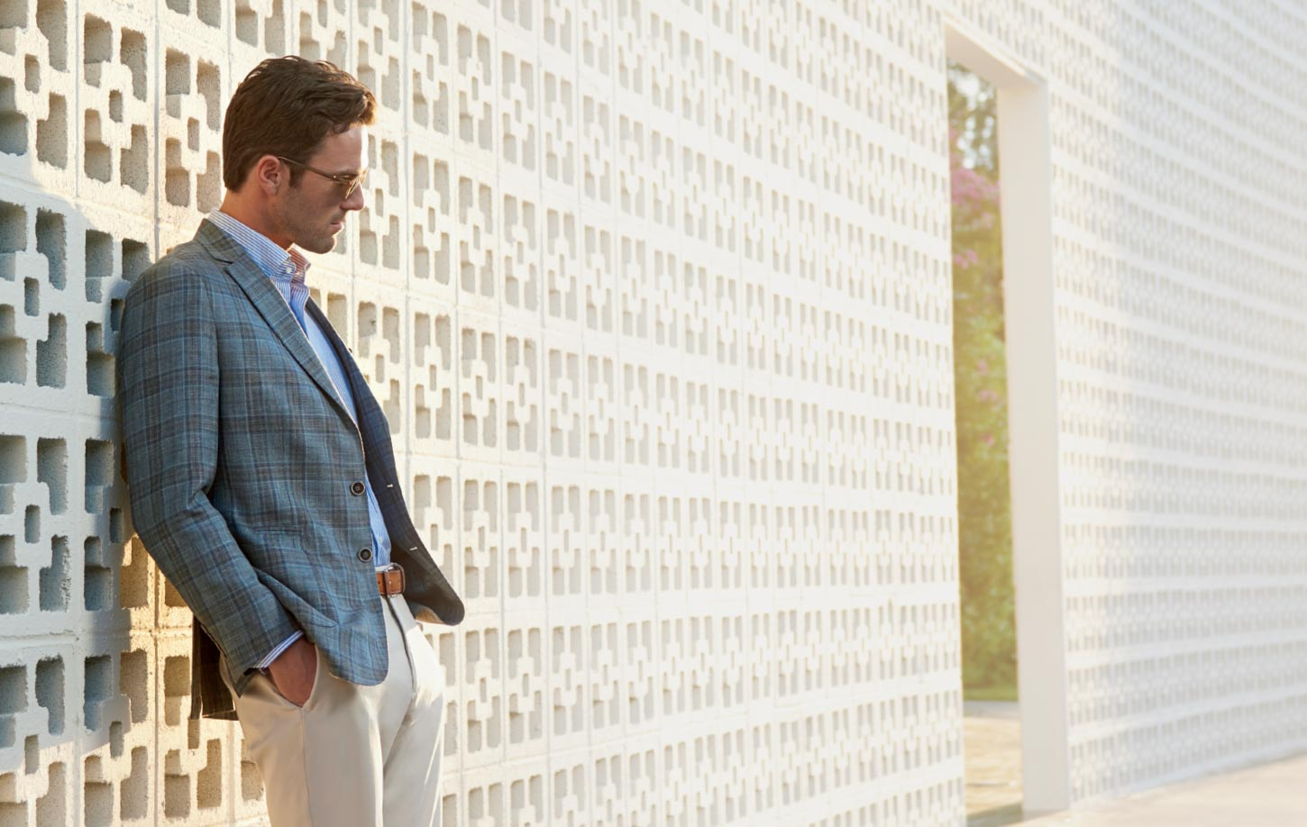 Peter Millar Image Leaning Against Wall In Sun