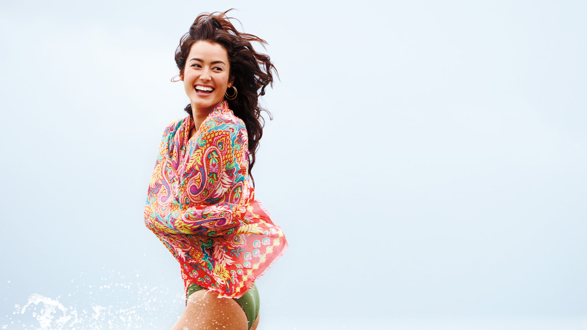 Female Splashing in Water with Vera Bradley Scarf