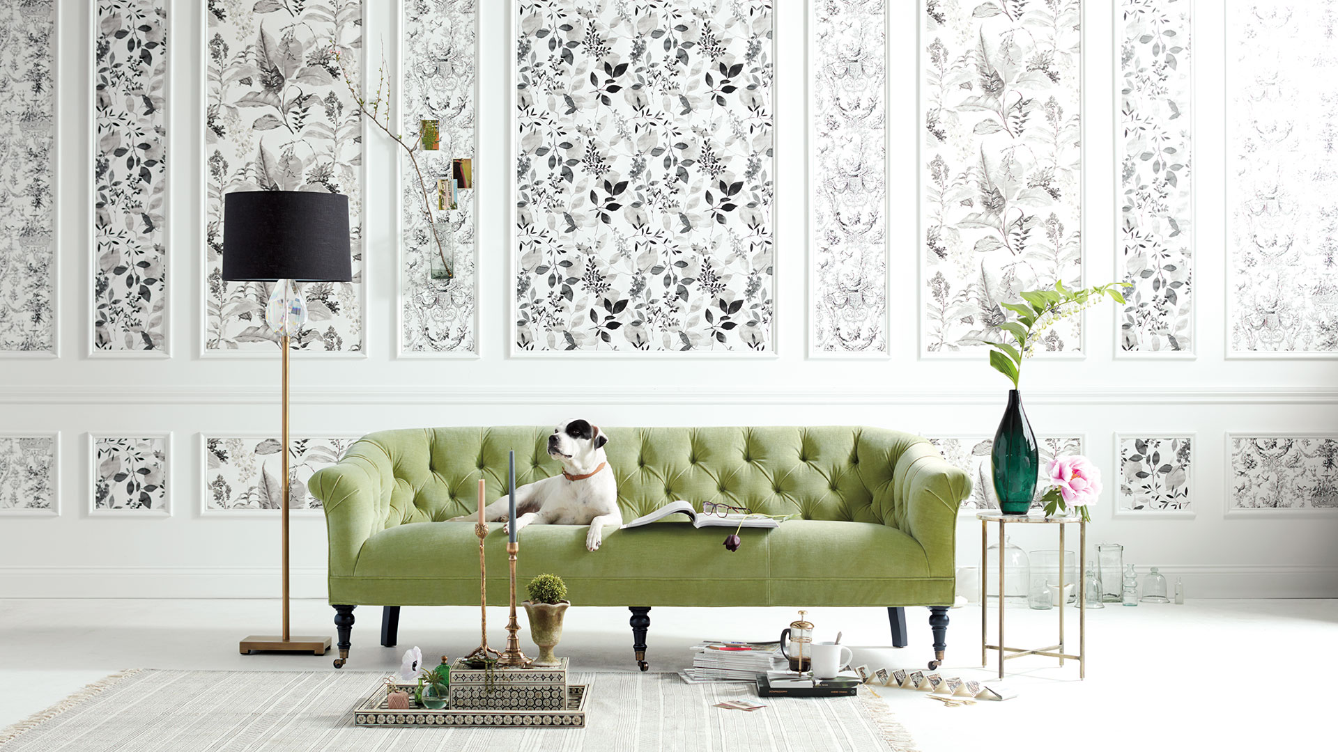 Arhaus Image of Dining Room with Dog on Couch