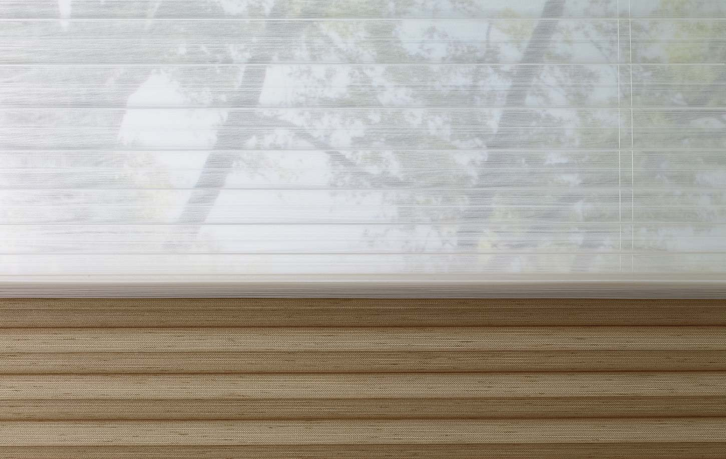 Close up of half-drawn vertical blinds