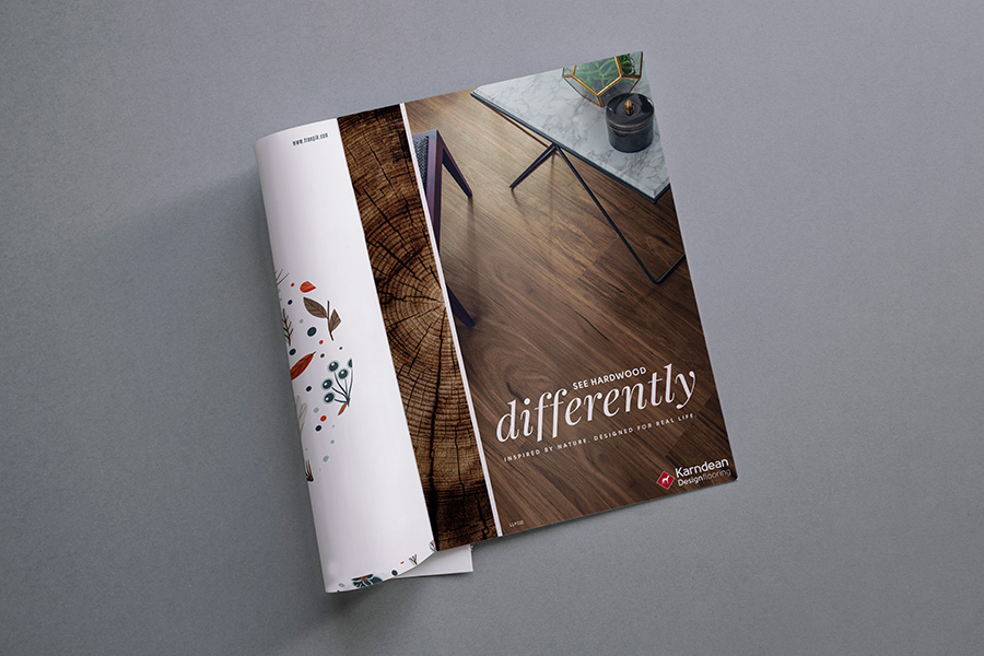 Magazine spread showing a Karndean Flooring full-page print ad