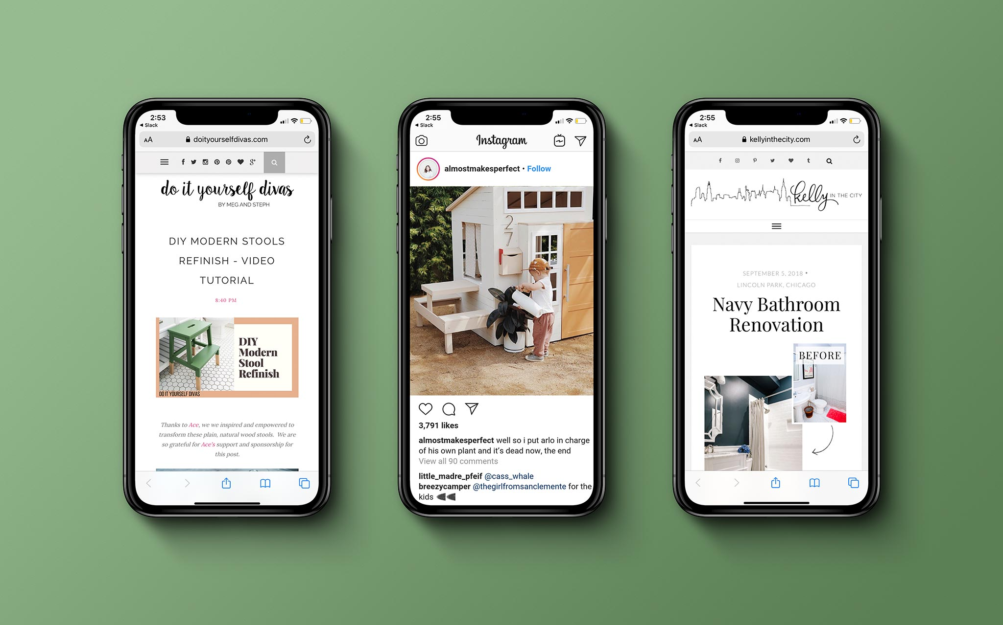 Mobile Devices Showing Influencer Content from Ace Hardware Partners
