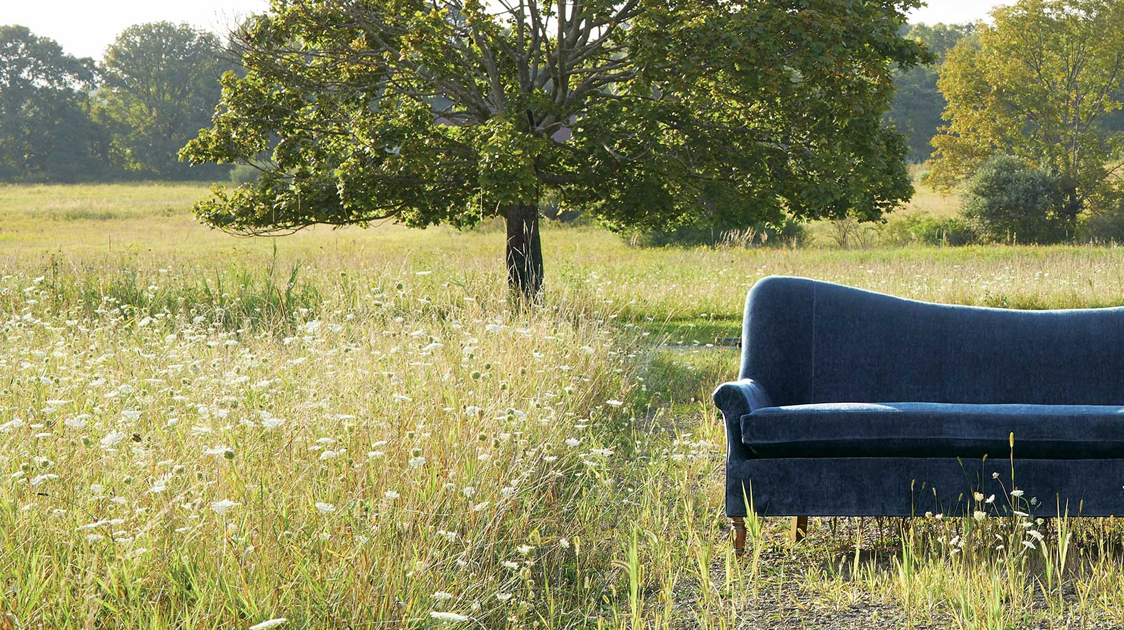 Arhaus sofa in the middle of a field