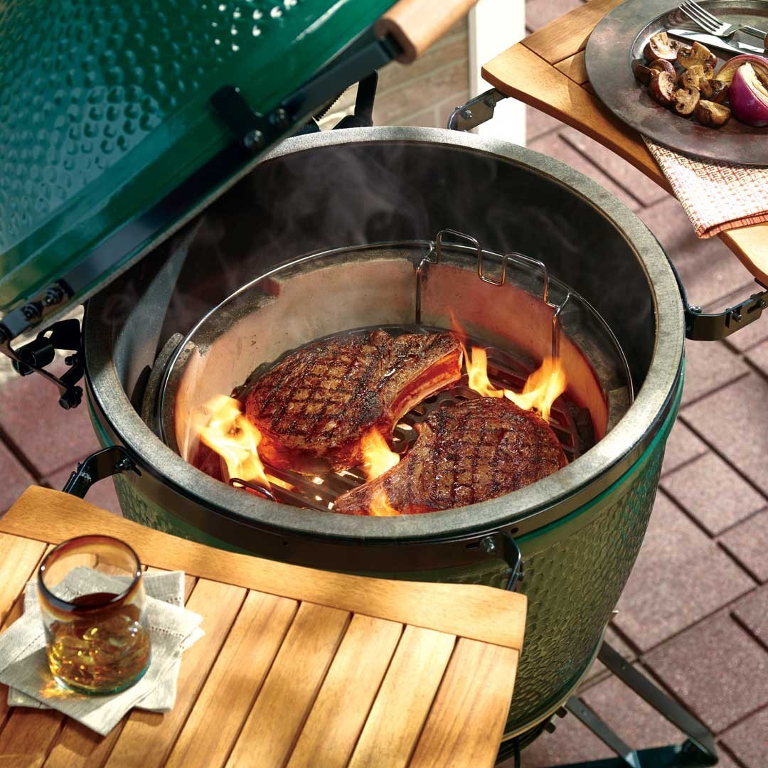 Big Green Egg grill with steaks