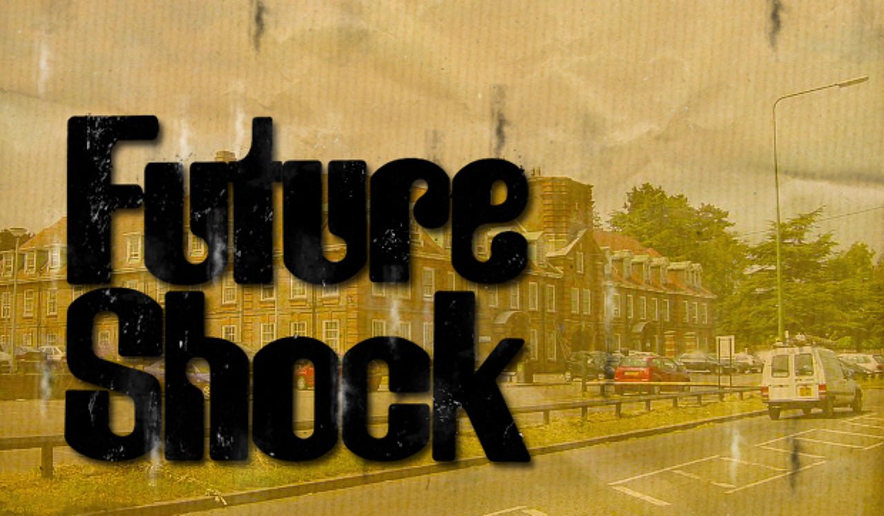 Future Shock text overlay an image of a city