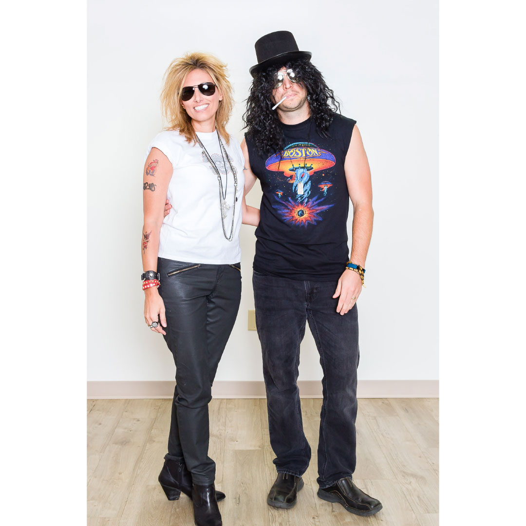 guy and girl dressed up rock and roll