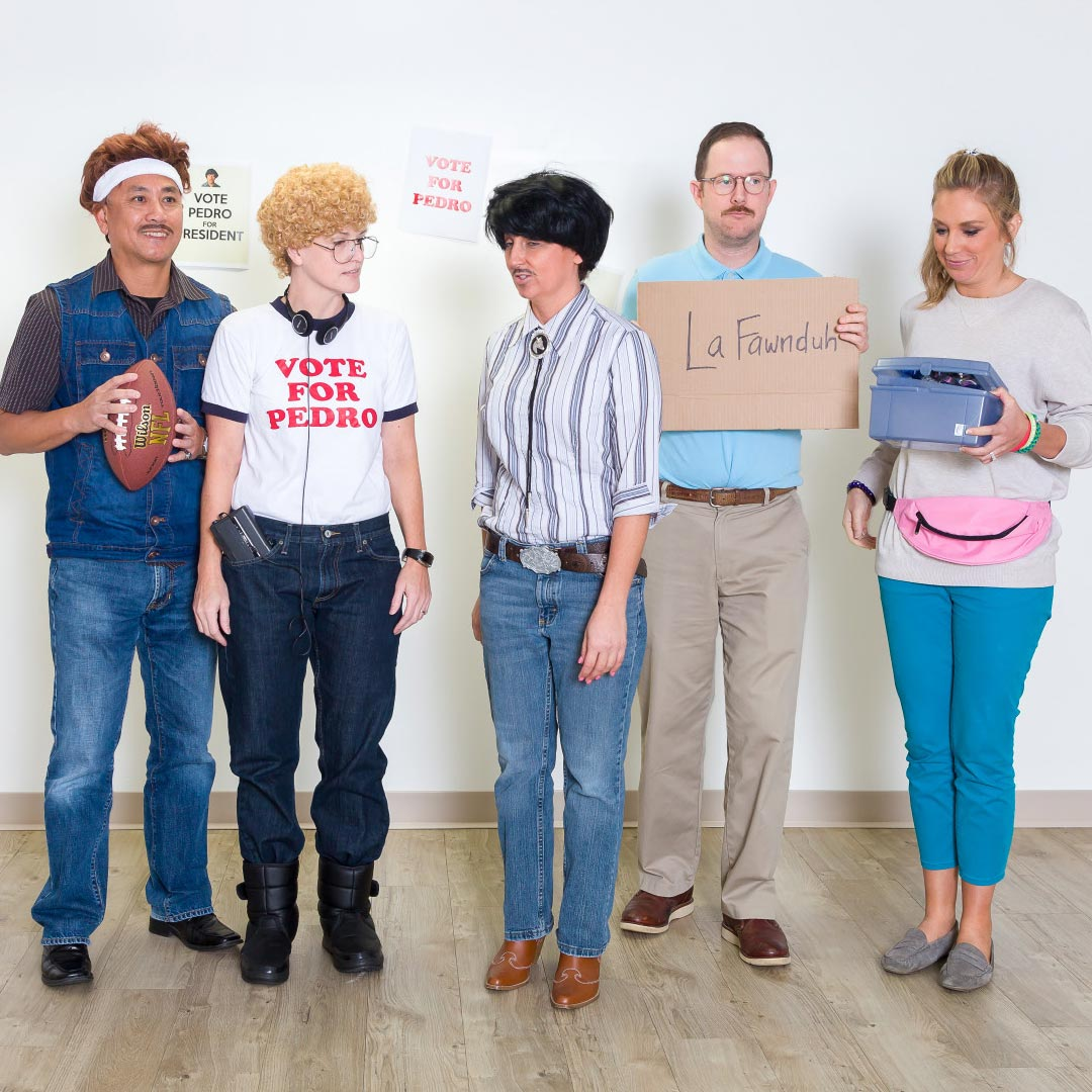 group dressed up as napoleon dynamite