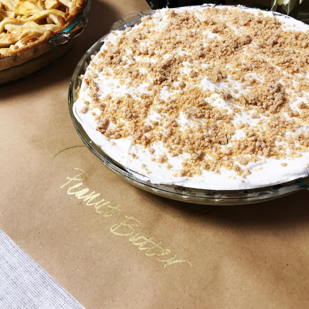 peanut butter pie on table