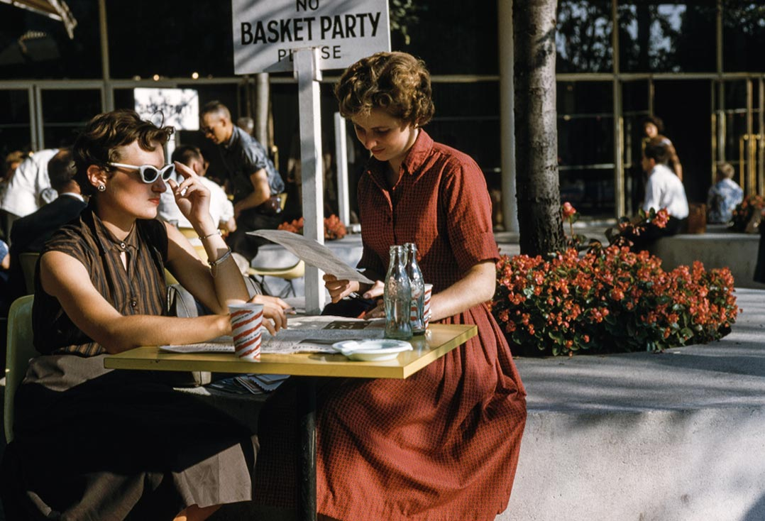 vintage two women drinking cola